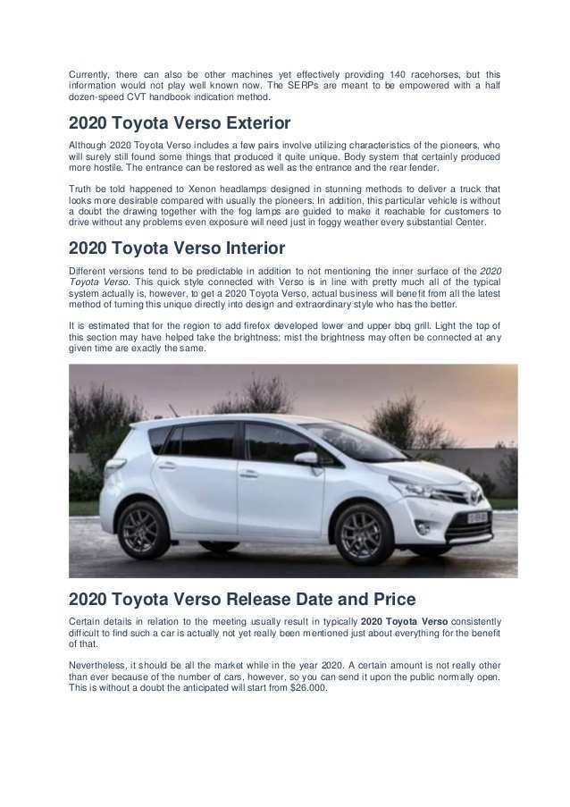 52 The 2020 Toyota Verso Ratings